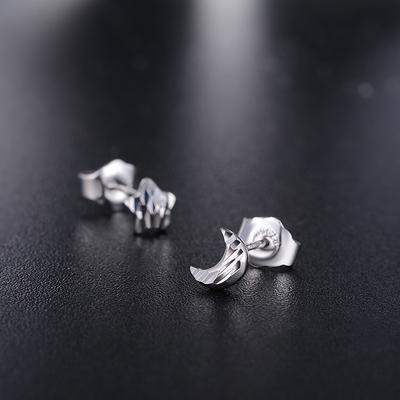 铂金耳钉女PT950白金耳环耳坠男女款星星月亮自由搭配送妈妈款 - 图0