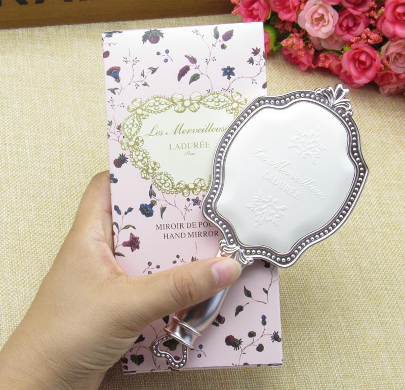 包郵 日本LADUREE拉杜麗貴族浮雕宮廷鏡化妝鏡 手拿鏡 便攜鏡可愛