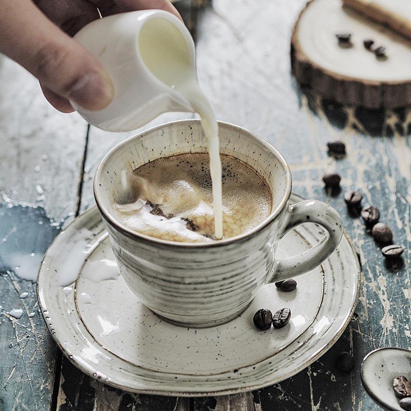 Lototo復古陶瓷咖啡杯碟套裝螺紋創意盃子碟子奶杯家用水杯早餐杯