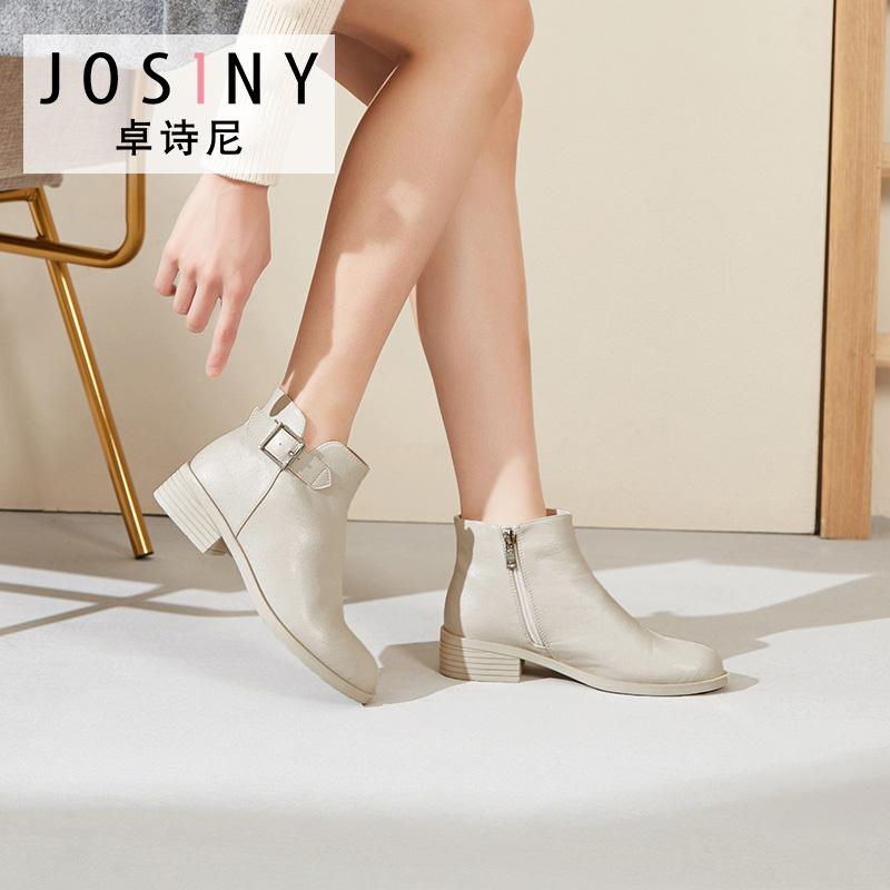 卓诗尼2019冬新款单靴女日韩学院风皮带装饰车缝线简约英伦短靴女