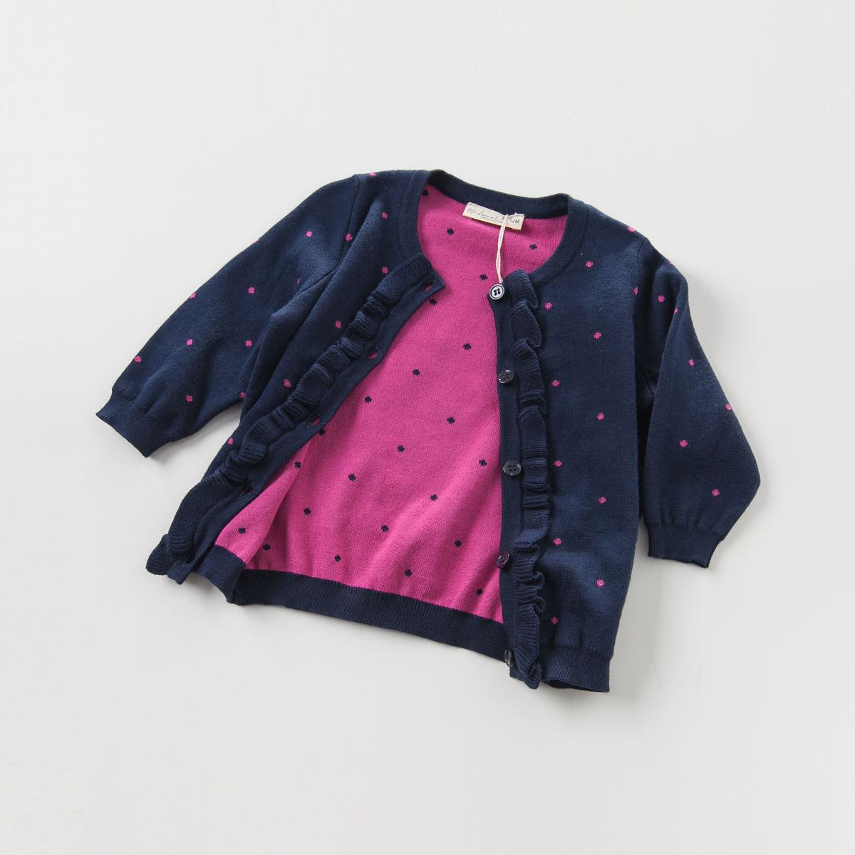 davebella戴维贝拉女童秋冬针织衫宝宝纯棉单排扣针织开衫DB3640