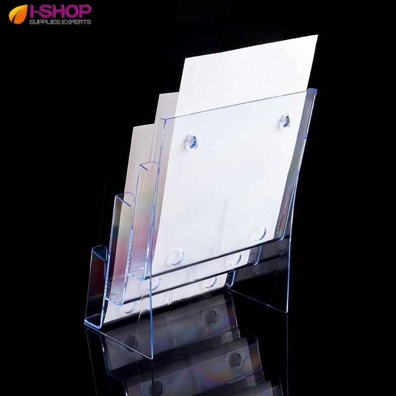 A4亚克力三层宣传单目录架展示架 透明折页银行资料架 桌面展示盒