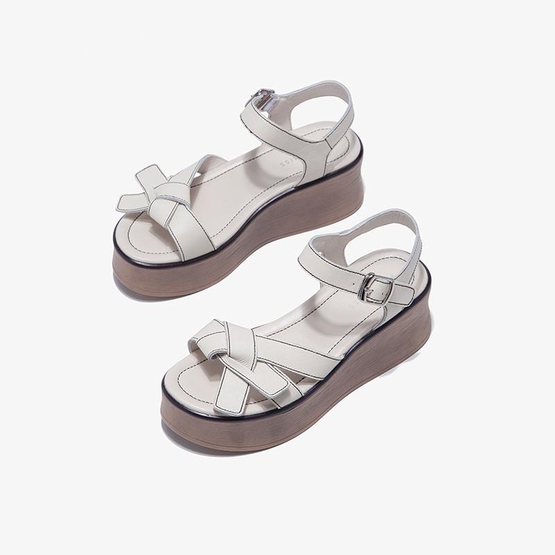 夏季新款百搭松糕仙女风罗马休闲坡跟凉鞋 2020 非谜厚底凉鞋女真皮