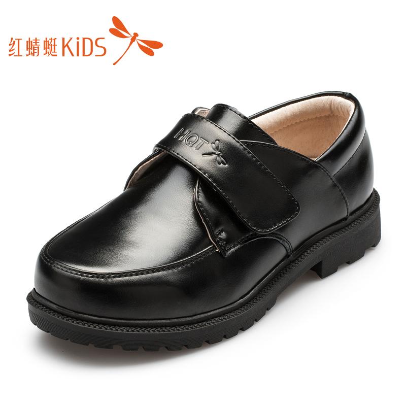 红蜻蜓童鞋中大童2019春秋款儿童真皮学生演出鞋黑色休闲男童皮鞋