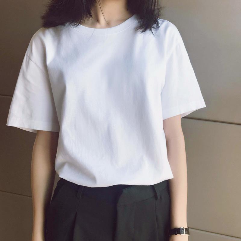 白色t恤女春夏装新款纯棉宽松百搭ins圆领短袖大码内搭打底衫女潮