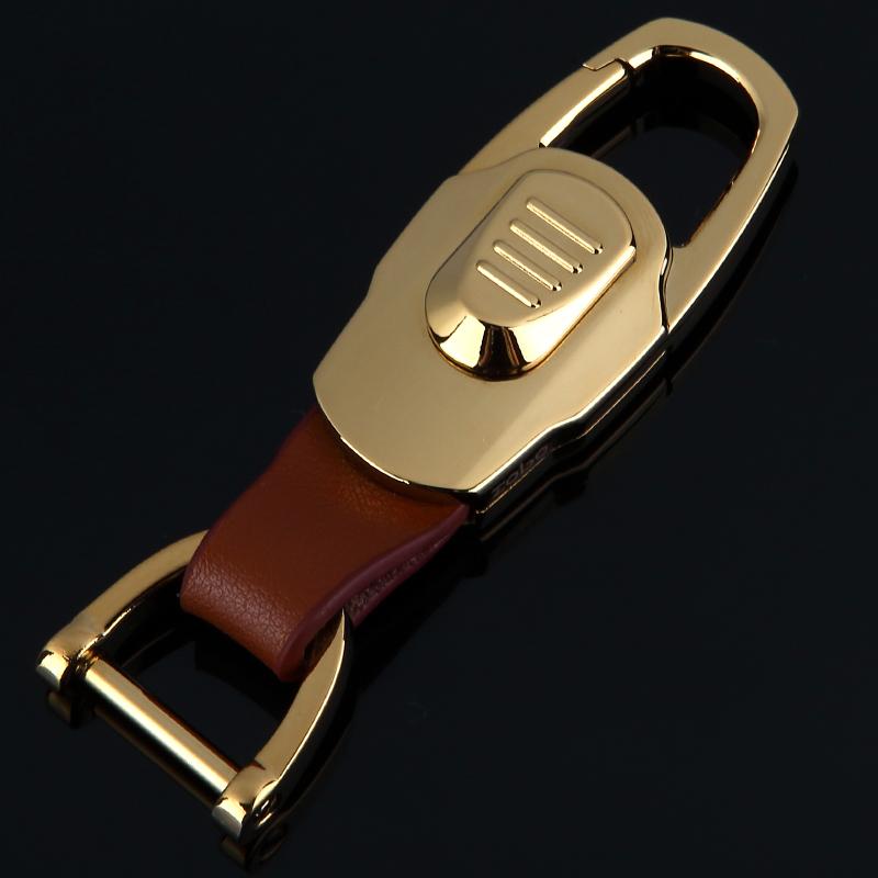 高档正品双环汽车钥匙扣男士腰式挂件不锈钢金属女钥匙圈情侣礼品