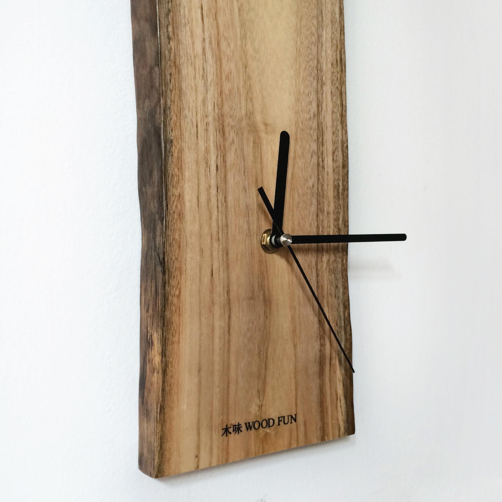 木味自然實木原木木質長方形木頭文藝現代簡約田園北歐掛鐘表
