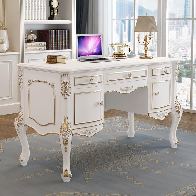 歐式書桌實木小戶型電腦檯式桌美容院學生白色辦公桌椅家用寫字檯