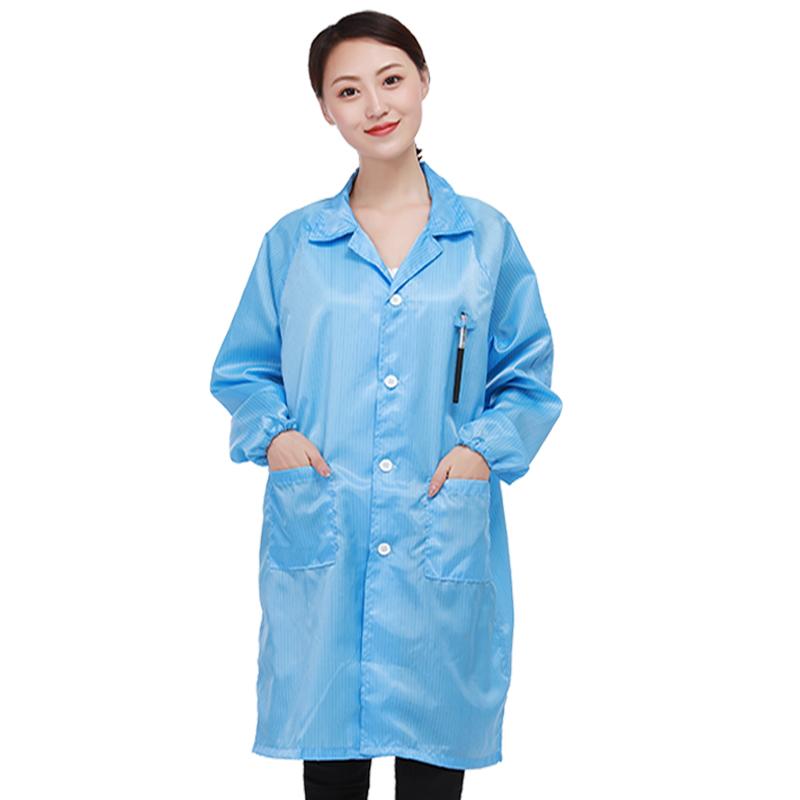 静电衣带帽 防静电大褂防护服无尘服条纹蓝色白色大褂防尘工作服