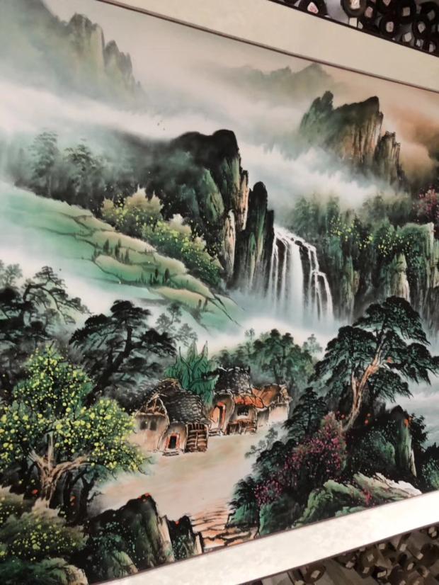 財源廣進聚寶盆山水國畫風水招財字畫客廳臥室辦公室靠山圖裝飾畫