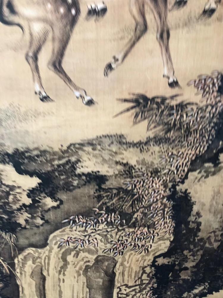双鹿福禄图仿古国画传世名家真迹印刷山水字画办公室客厅装饰挂画