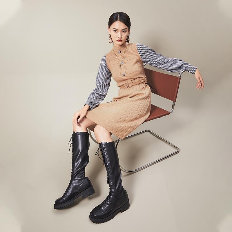 MD701DG0 冬季新款绑带保暖加绒骑士靴长筒靴瘦瘦靴女鞋 2020 百思图