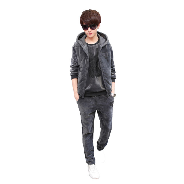 Playboy flagship gold velvet sweater suit men's autumn and winter three-piece Korean style trendy casual sports jacket