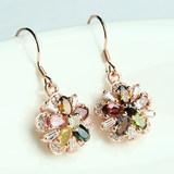 Winter new natural gemstone tourmaline earrings set in sterling silver rose gold plated fashion exquisite crystal earrings