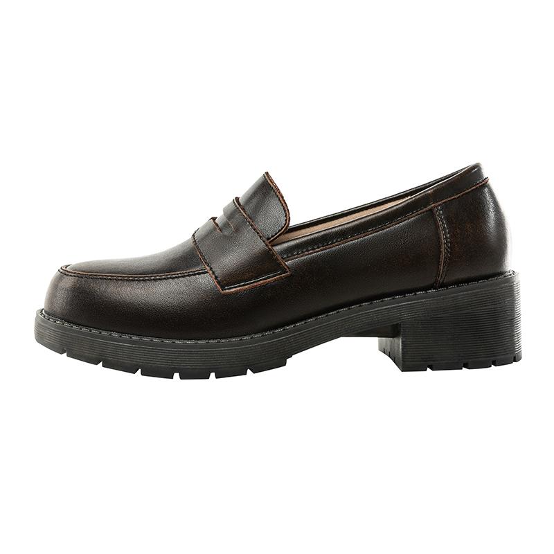 康妃妮黑色乐福鞋秋季学院风赫本小皮鞋女日系jk鞋子基础款制服鞋