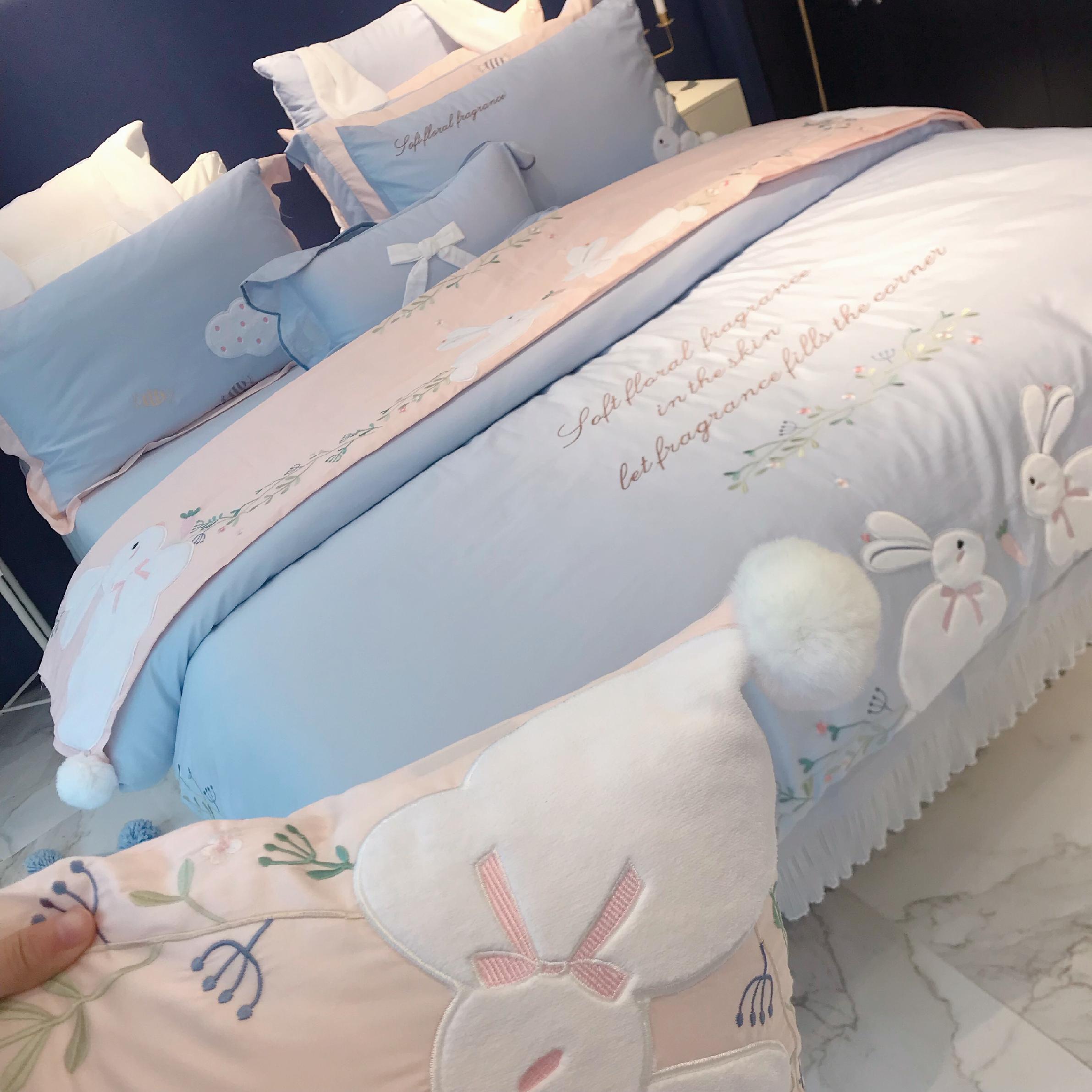 支長絨棉刺繡四件套可愛兔子卡通全棉床單純棉被套少女心公主風 60