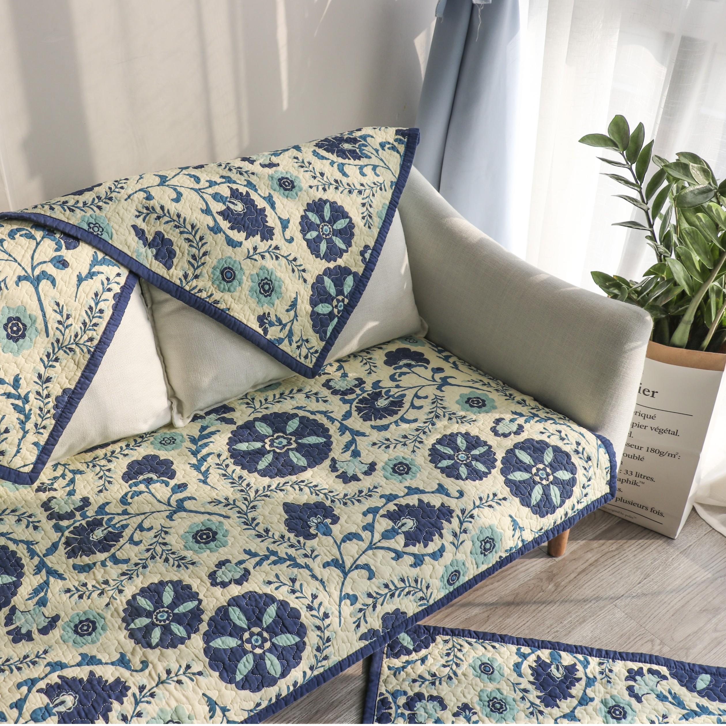 歐美式絎縫愛克託沙發墊布藝全棉沙發巾飄窗墊防滑坐墊四季通用墊