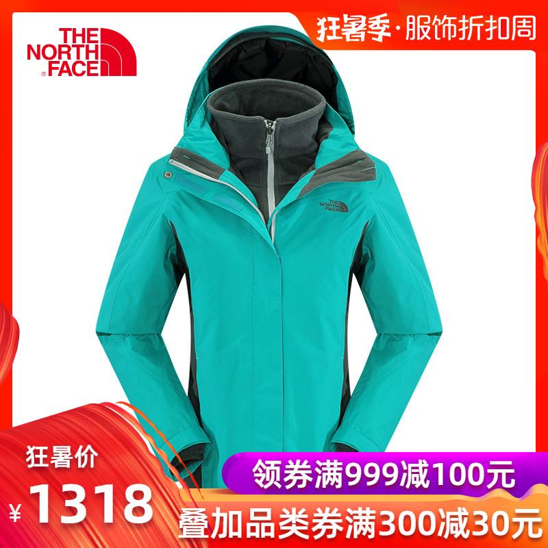 THE NORTH FACE/北面女款戶外防水透氣抓絨內膽三合一衝鋒衣CZ36