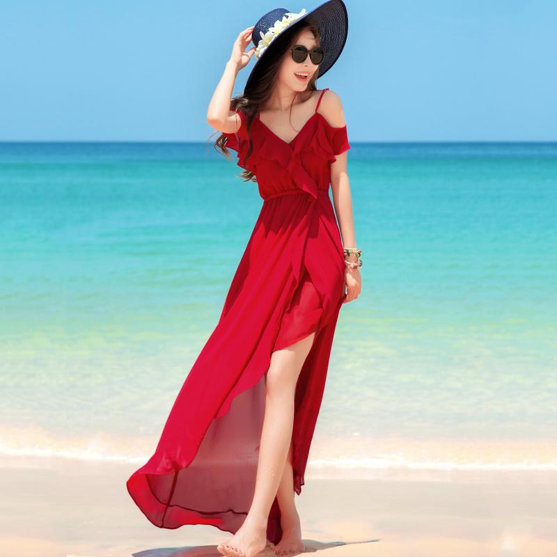 巴厘岛大红色沙滩裙海边度假仙雪纺白色吊带裙女夏长裙连衣裙长款
