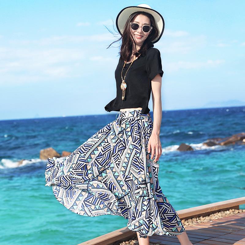 度假小姐波西米亚套装 女两件套短袖t恤雪纺碎花沙滩半身裙长裙夏