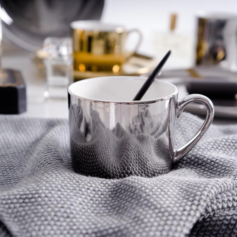 ins陶瓷咖啡杯骨瓷水杯马克杯盘子情侣杯子镀金镀银餐盘收纳托盘