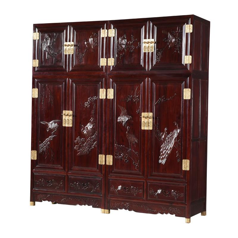 源森格红木非洲酸枝木顶箱柜实木古典卧室储物柜檀雕花鸟大衣柜