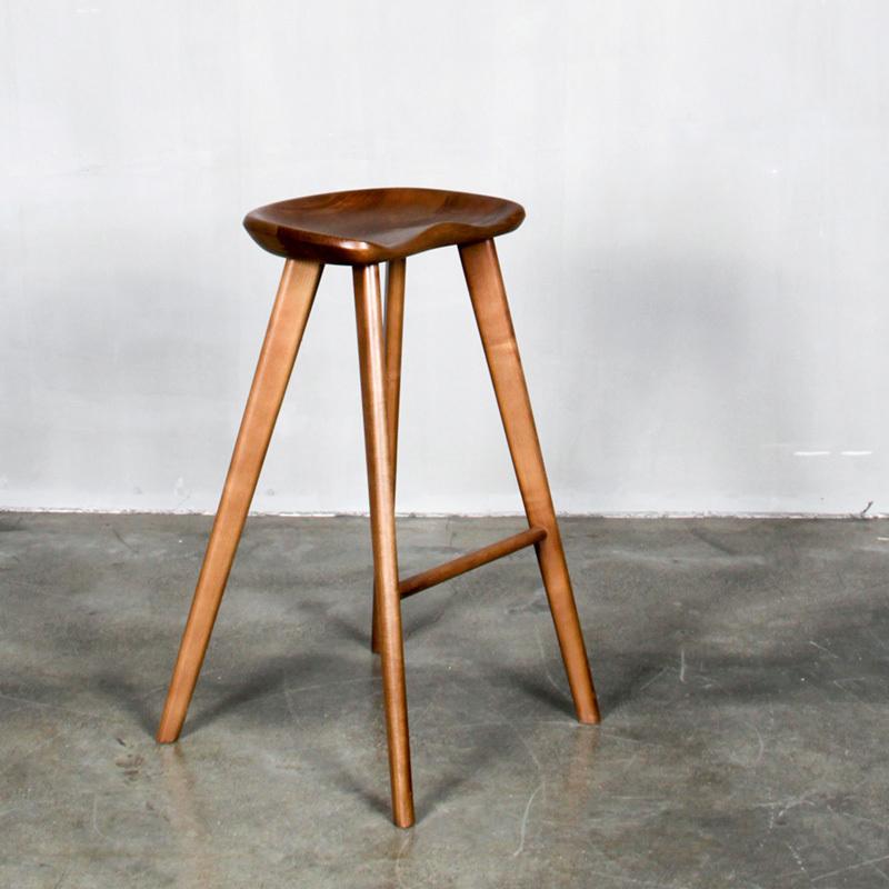 现代简约丹麦实木吧台椅子家用高脚凳子时尚创意北欧式酒吧凳吧椅