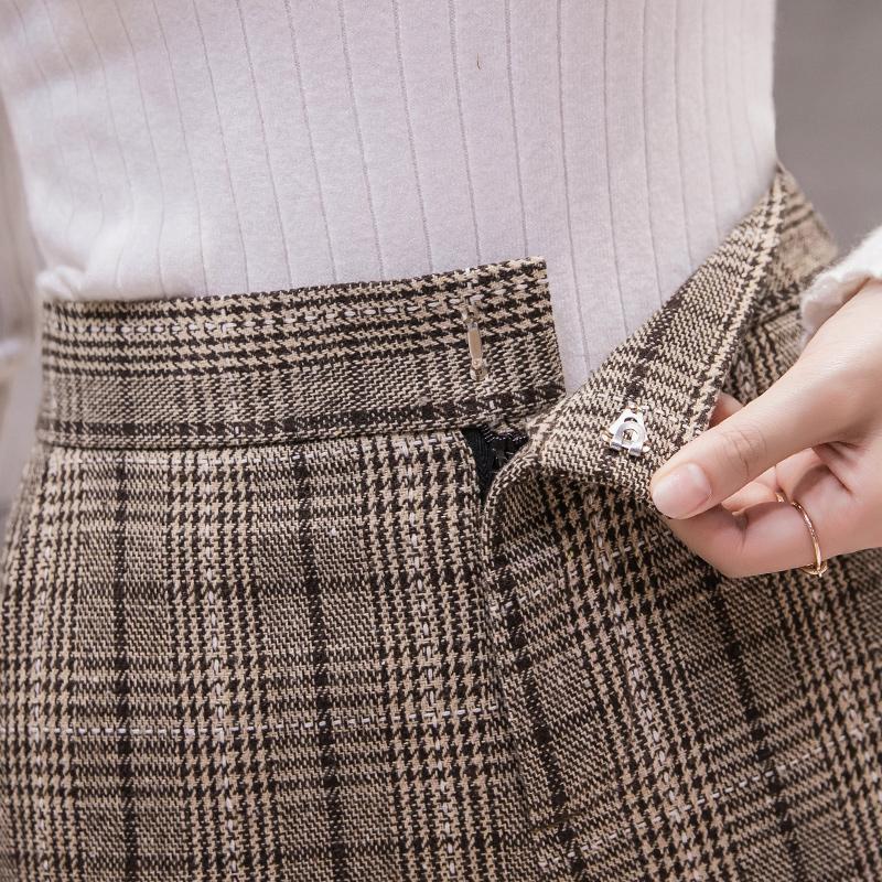 毛呢裤子女秋冬季阔腿裤高腰百搭2019新款加厚宽松垂感九分直筒裤
