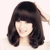 Wig female cute Qi Liuhai wig fluffy egg roll head wig mid-length hair set realistic wig full wig