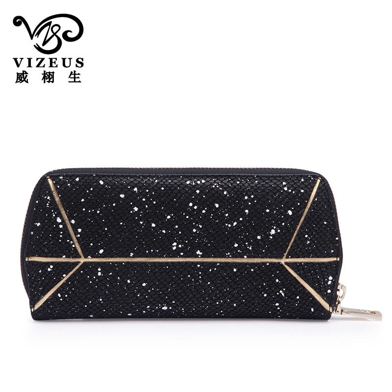 女士钱包真皮长款品牌拉链包头层牛皮大容量多卡位手包 VIZEUS 法国