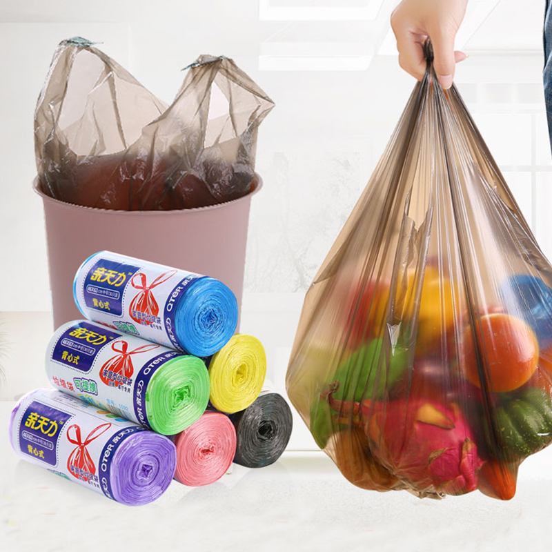 家用百货中号大号厨房一次性点断式黑色家居塑料袋加厚垃圾袋卷装