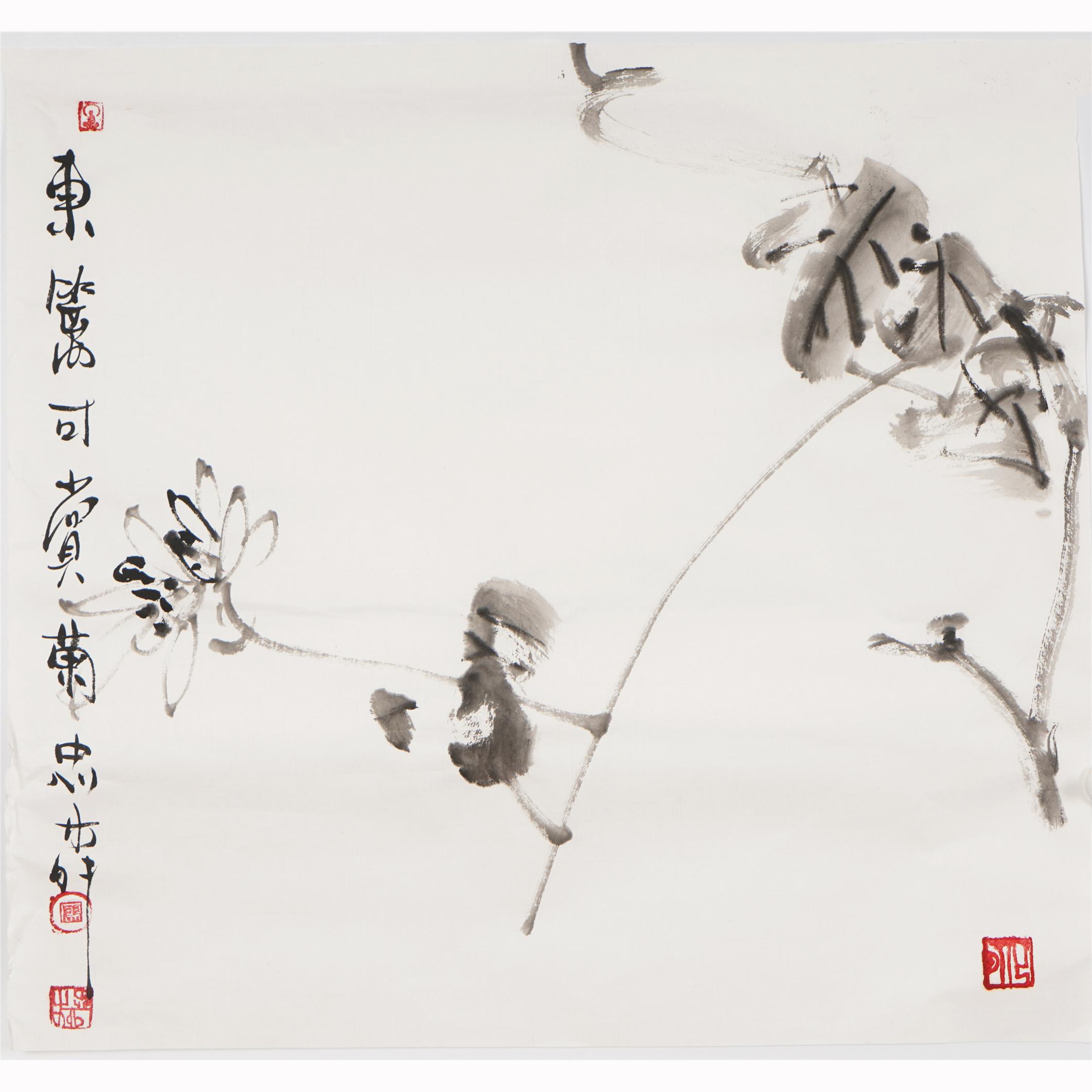 三尺斗方水墨畫手繪禪意國畫花鳥畫中式客廳字畫廖忠柳真跡00009