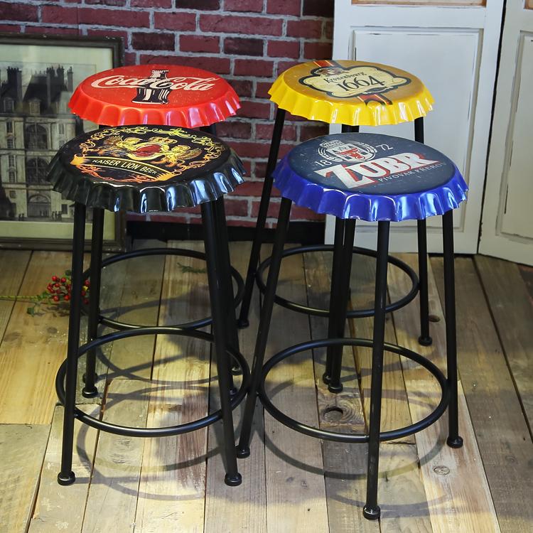 LOFT美式啤酒盖酒吧凳复古圆形单人凳工业风铁艺吧椅高脚凳子