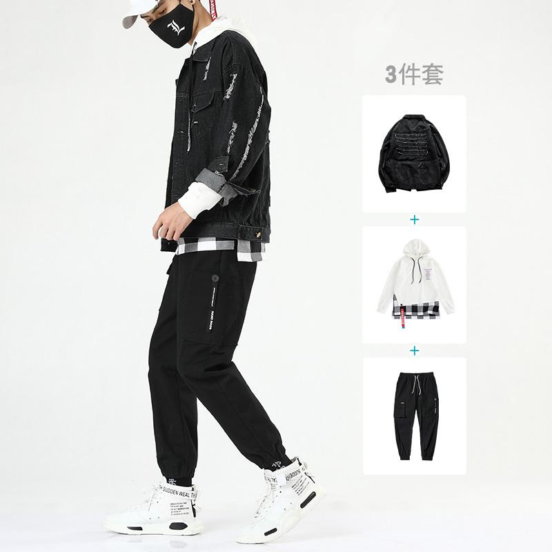 宽松牛仔外套 bf 新款男装一套搭配帅气套装韩版潮流 2019 夹克男秋季