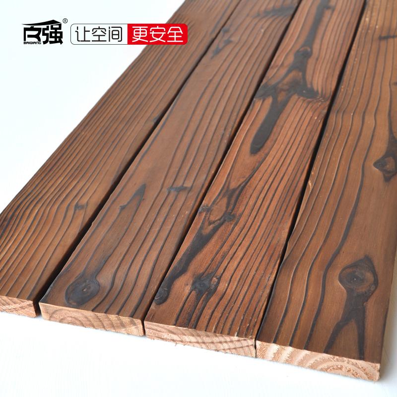 百强碳化木地板阳台木方实木花园火烧木炭烧木户外防腐木材88*20