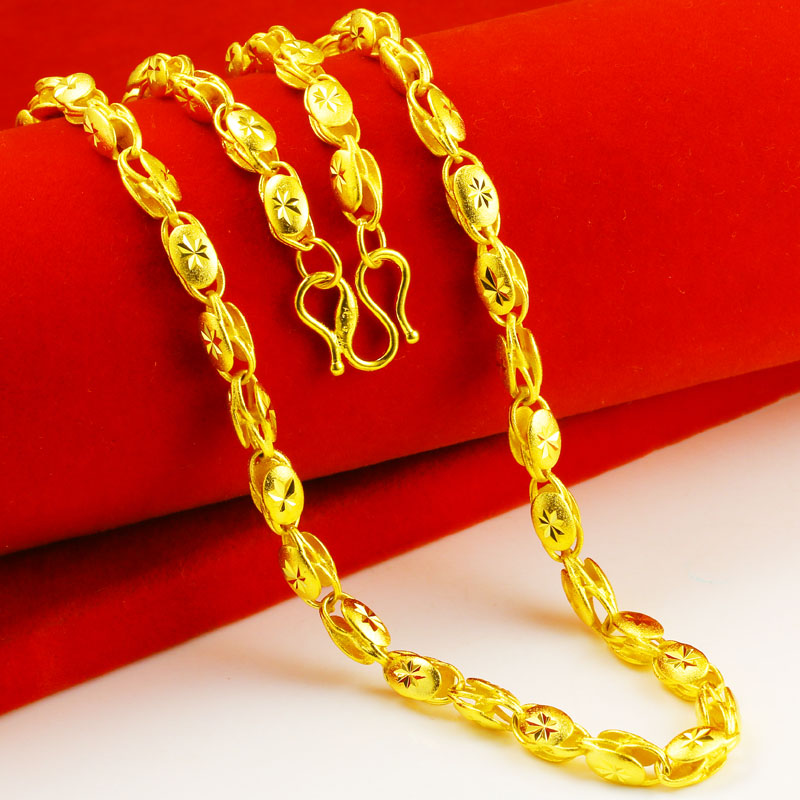 正品黄金项链9999足金男士女款长米字形空心纯金子首饰链