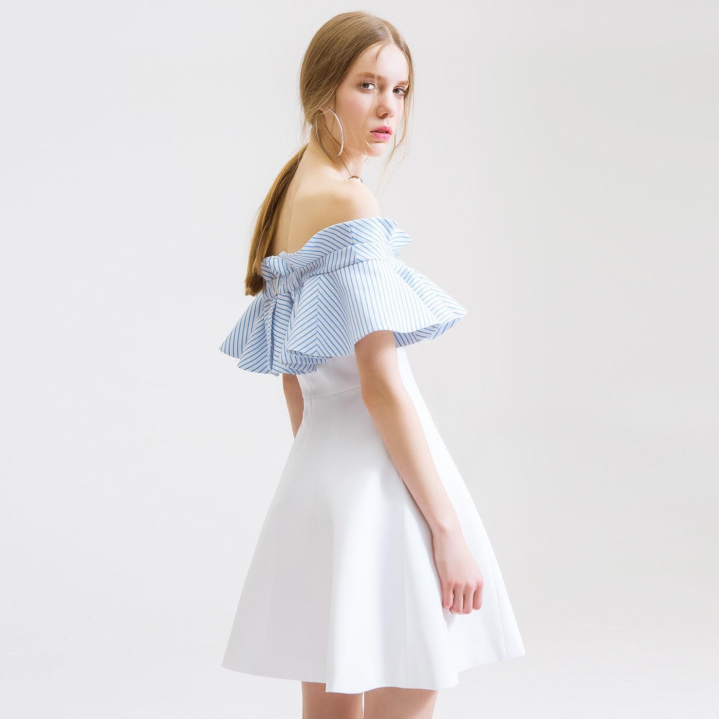 糖力夏装欧美女装荷叶边一字领露肩连衣裙修身显瘦透气清凉小礼服