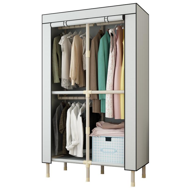 简易衣柜单人组装钢架加粗加固学生宿舍经济型布艺收纳布衣柜衣橱