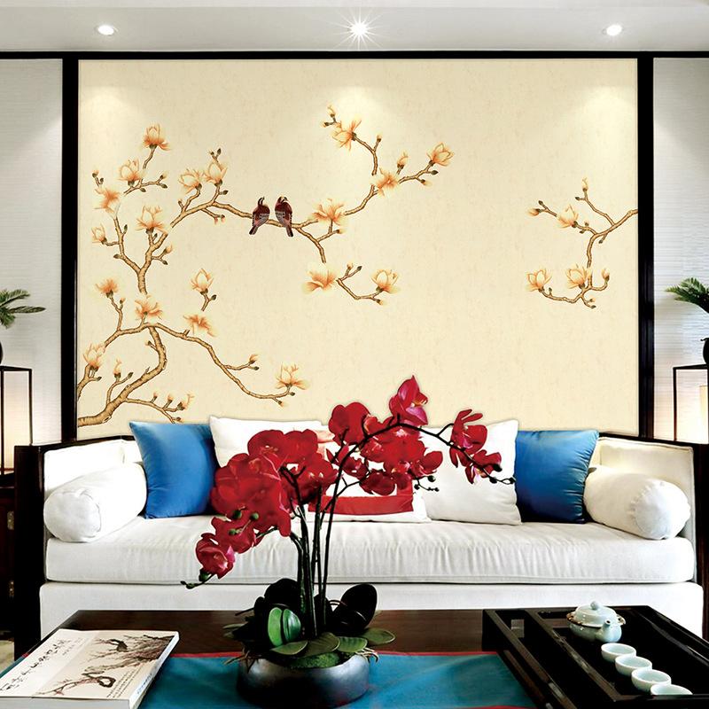 中式客厅电视沙发背景墙布 定制独绣背景墙整幅苏绣刺绣无缝壁布