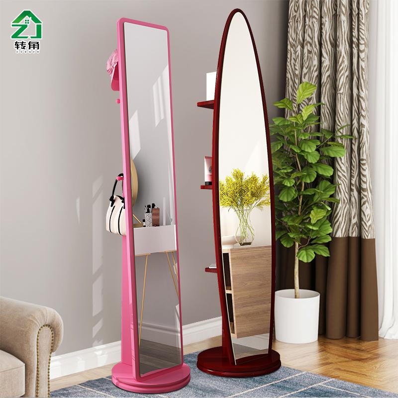 简约全身镜落地镜卧室立体式大镜子移动旋转穿衣镜女生家用试衣镜