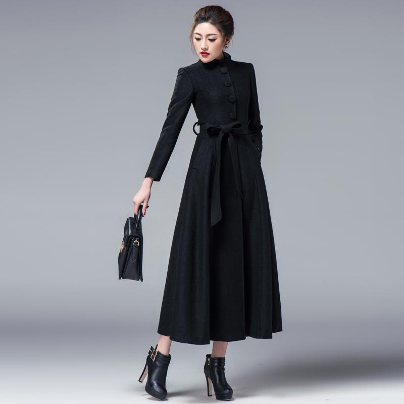 2018冬女黑色羊绒大衣中长款气质修身显瘦小立领毛呢外套羊毛大衣