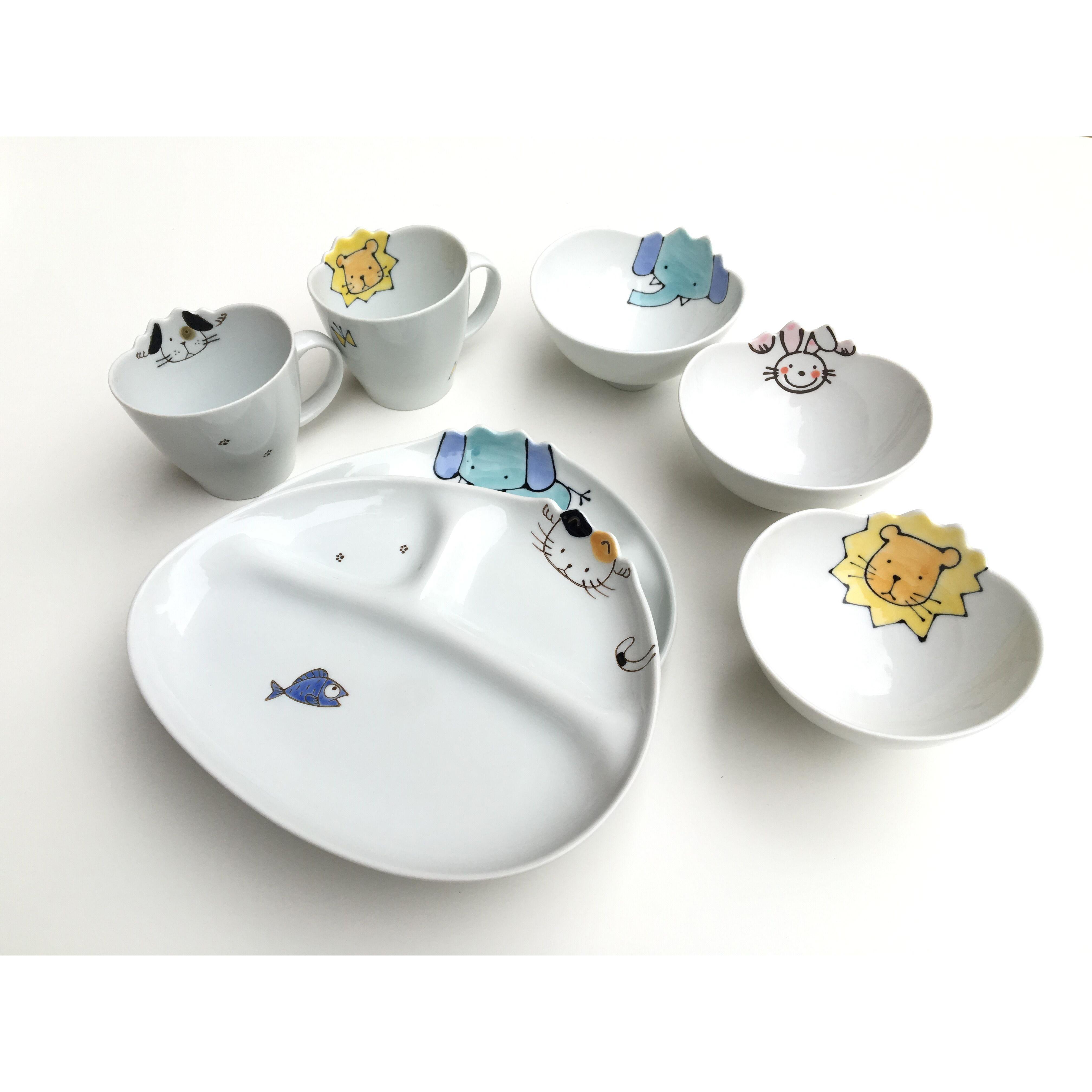 日本進口 Zakka 動物系列陶瓷兒童餐具分餐盤 碗馬克杯