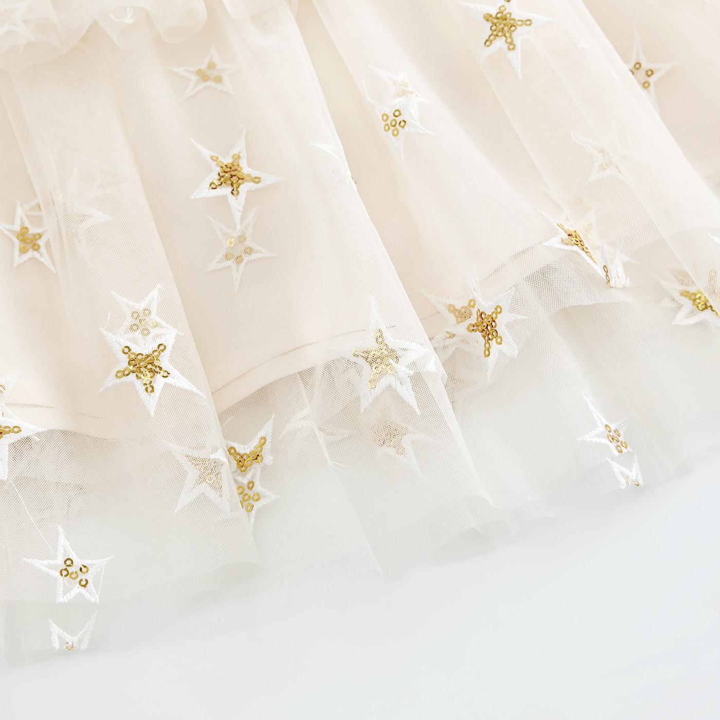 糖力2018夏装新款欧美女装裸色甜美亮片星星刺绣多层网纱吊带上衣
