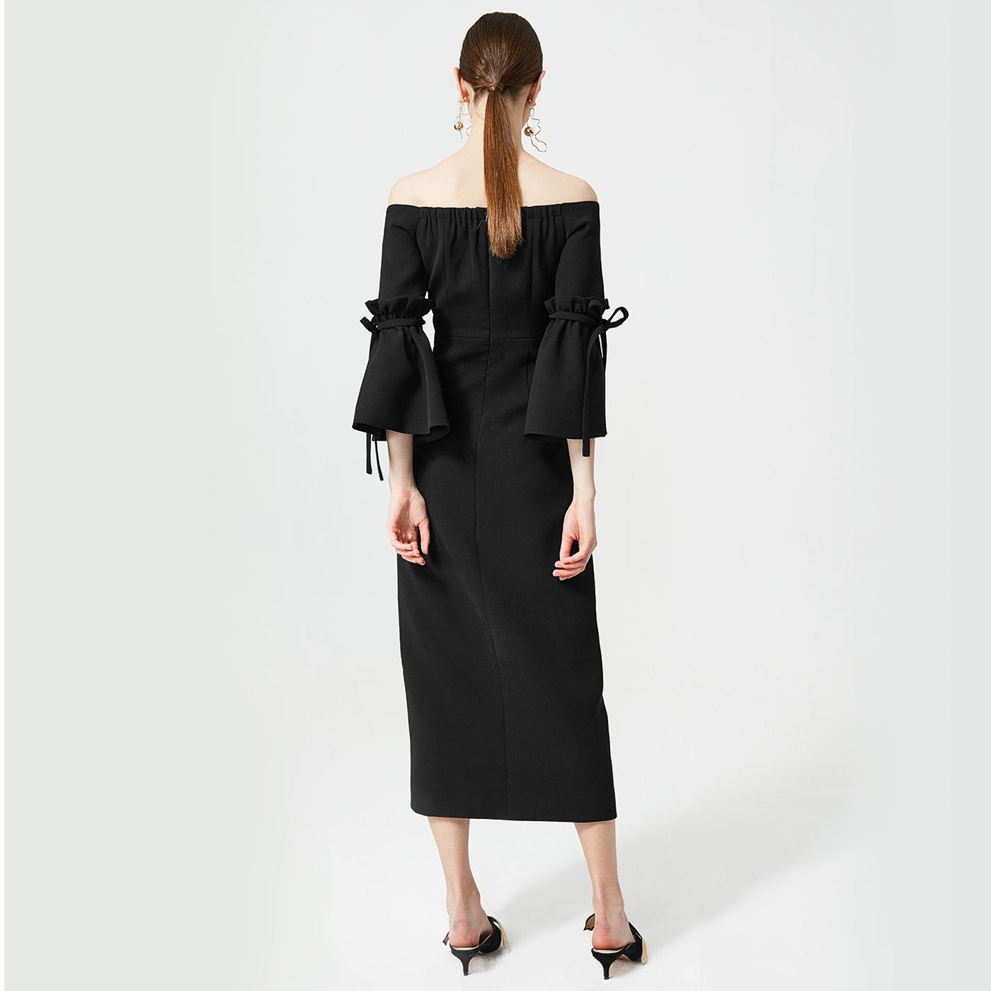 糖力2018春装新款欧美女装黑色一字肩绑带喇叭袖高开叉连衣裙长裙