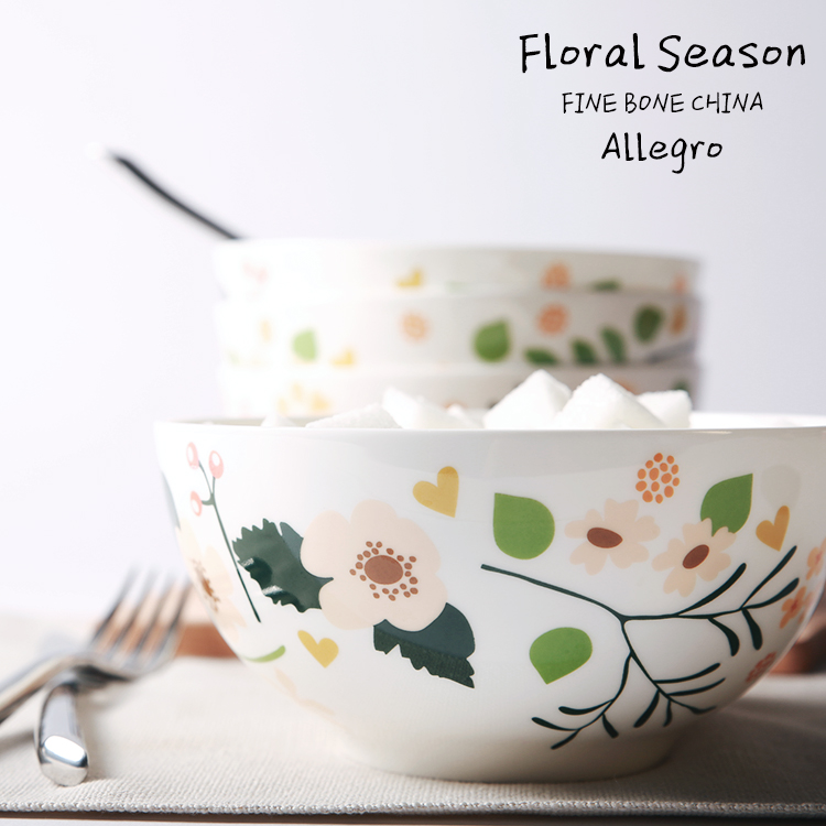 藍蓮花家居 小花季 6寸高骨瓷沙拉碗湯碗麵碗 高貴 田園風 小清新