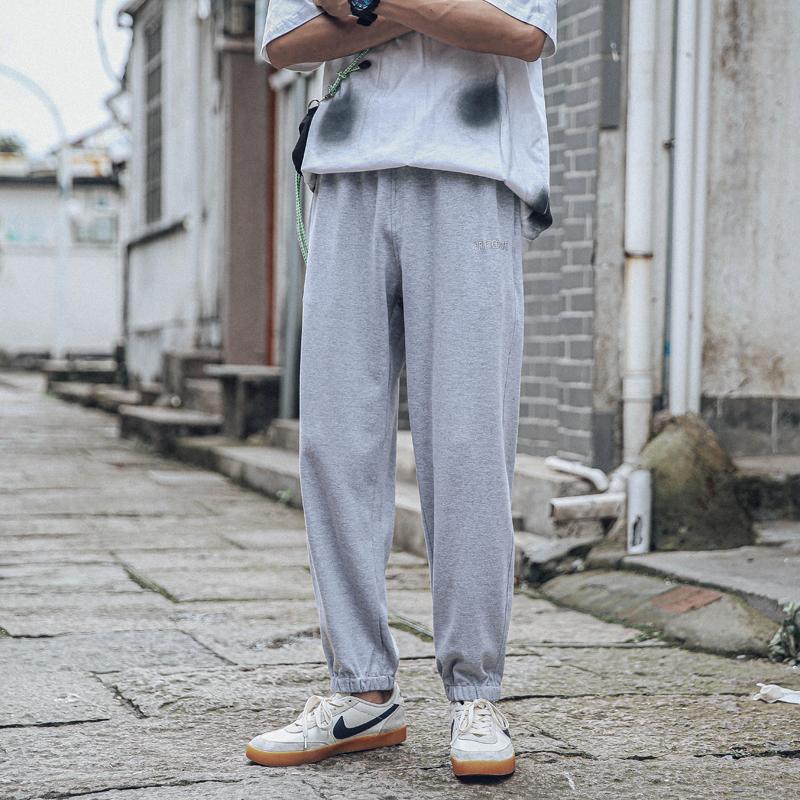 第四十九天春秋刺绣字母薄款九分裤男卫裤宽松小脚裤运动休闲裤子