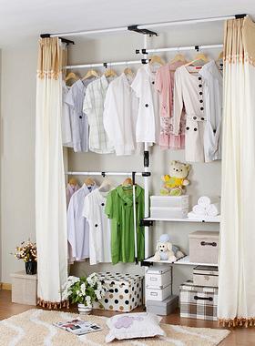 简易窗帘式顶天立地衣柜出租房用敞开式组合钢管加厚布衣柜铁架子