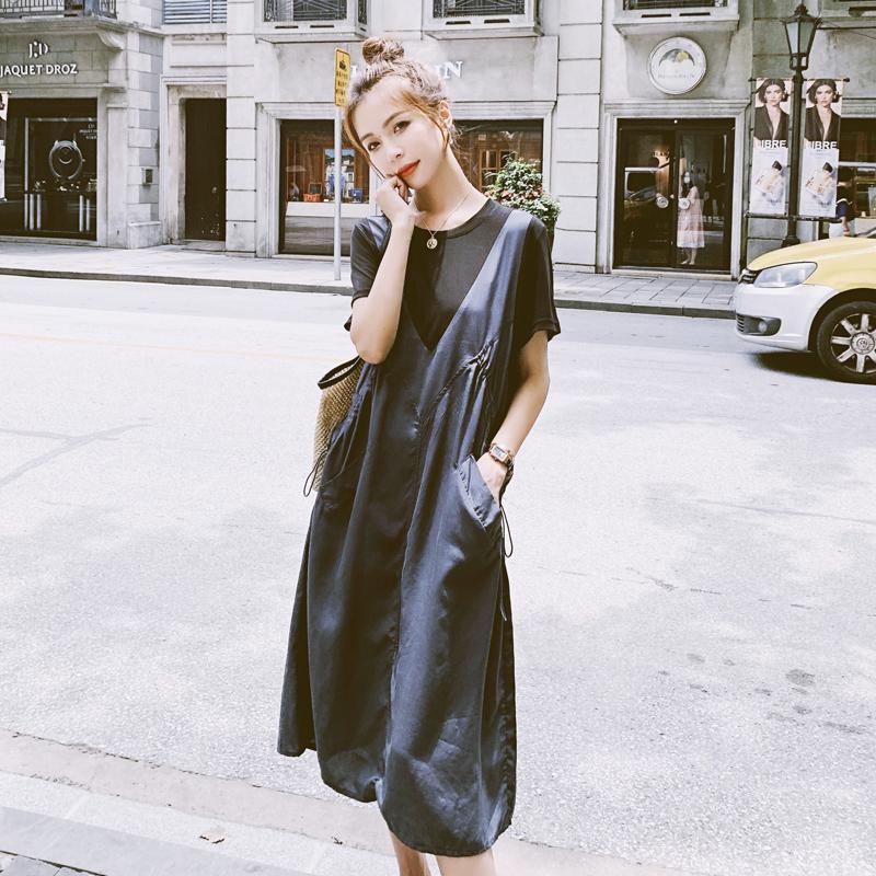 裙假两件拼接黑色裙子