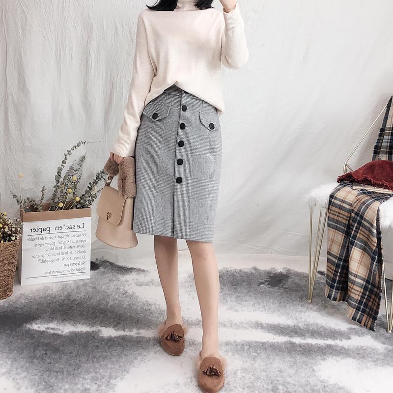 复古浅灰色格子黑色单排扣加厚羊毛呢高腰一步裙 冬包臀显瘦中裙
