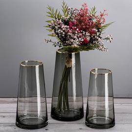 北欧轻奢描金边锥形玻璃花瓶 鲜花仿真花器 创意家居软装饰摆件